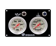 "Gauge Panel, Race, OILP/WTMP, 2 5/8"", White, Silver, 8000 Series"